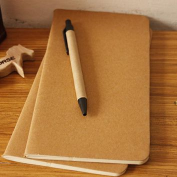 Cowhide Paper Notebook Blank Notepad Book Vintage Soft Copybook Daily Memos Kraft Cover Journal Notebooks Office Stationery