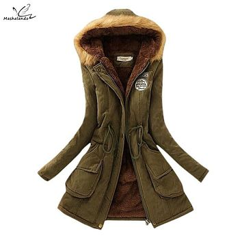 New 2016 Thickening Warm Fur Collar Winter Coat Women Clothes Lamb Wool Jacket Hooded Parka Army Green Overcoat XXXL