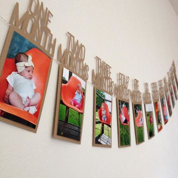 Baby 1st One Year Photo Booth Birthday Banner DIY Album Monthly Paperboard baby photo album Show Party Decoration supplies