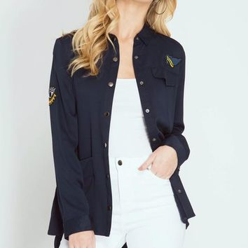 Military Shirt Jacket With Patches