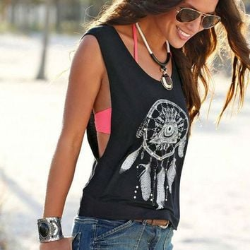 DCCKXT7 Fashion Casual Retro Feather Pattern Print Round Neck Sleeveless Vest Tops