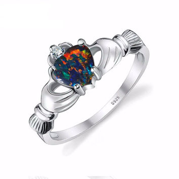 Black Fire Opal Irish Claddagh Rainbow Ring