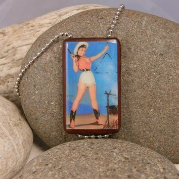 Cowgirl Pinup Large Bamboo Tile Pendant Necklace  by AnnaLeighs