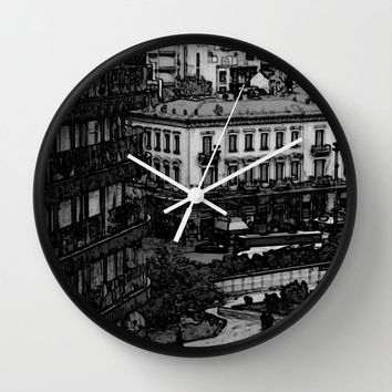 City Center Black & White Wall Clock, Urban Photography, Old Architecture, Buildings, Dark Gray Clock