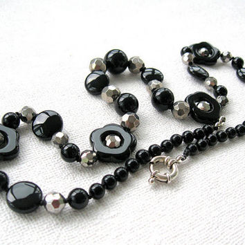 Black Agate Necklace, Stone Flowers and Pyrite Accent Beads, Classic Elegant OOAK  Beaded Necklace