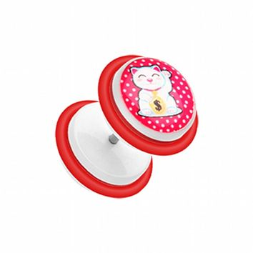 Maneki-Neko Lucky Cat Acrylic Fake Plug with O-Rings