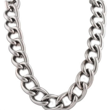 Hematite 24mm 23 Inch Adjustable Chunky Link Chain Necklace Light Weight