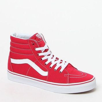 DCCKJH6 Vans Canvas Sk8-Hi Red Shoes