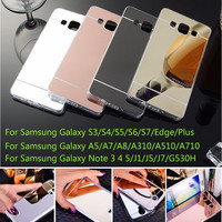 Plating Mirror Soft TPU Back Cover For Samsung Galaxy A5 A7 A8 A310 A510 J1 J5 J7 S3 S4 S5 S6 S7 Edge Plus G530 Phone Cases