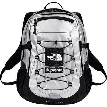 The North Face & Supreme New fashion couple high capacity backpack bag Silver