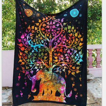 Bohemian Hindu Indian Tree Elephant Mandala Tapestry Wall Hanging For Bedroom Large Tapestries Elephant Beach Blanket Yoga Mat