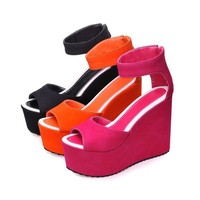 Cati Ankle Strap Wedge Heeled Sandals 3 Colors