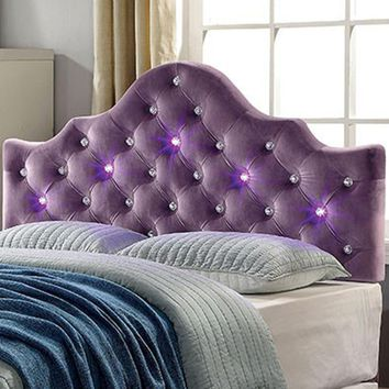 King Bed Header board With Led Lighting, Purple