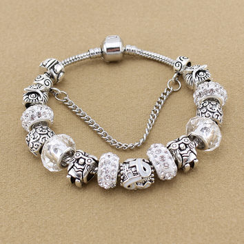 Classic Clear Crystal Beads Owl Charm Bracelets & Bangles for Women Silver European Beads fits women bracelets free shipping