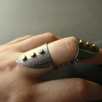 $98.00 Articulated Finger Armor oxidized silver ring by DorothyCheng