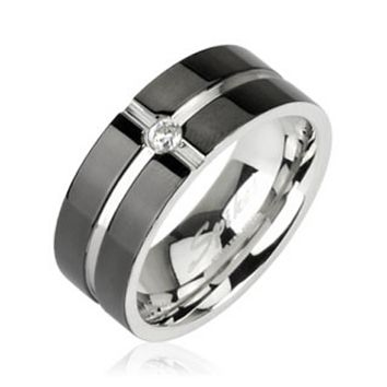 Layered Crossing Black IP with CZ Center 316L Surgical Stainless Steel Ring
