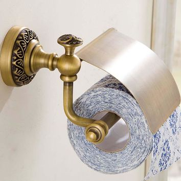 New Wall Mounted Bathroom Antique Brass carving Toilet Paper Holder With Cover