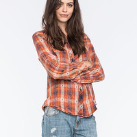 Angie Classic Womens Flannel Shirt Orange  In Sizes