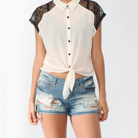 Boxy Lace Inset Shirt | FOREVER21 - 2000046319