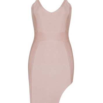 Honey Couture AVANI Pink Thigh Cut Out Mini Bandage Dress