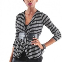 Stripe Ruffle Belted Cardigan - Diva Hot Couture
