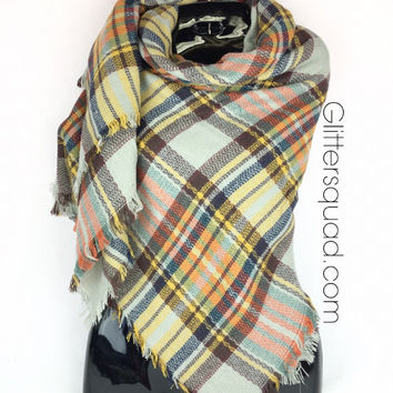 New Trendy 2016 Orange/ Grey Blanket Scarf / Valentines gift / Scarf Wrap / Blanket Scarf / zara style /