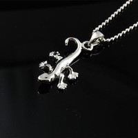 STERLING SILVER 925 HIGH POLISH SHINY HAWAIIAN GECKO PENDANT