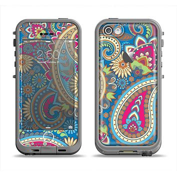 The Subtle Blue & Yellow Paisley Pattern Apple iPhone 5c LifeProof Fre Case Skin Set