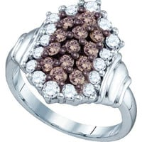 Cognac Diamond Ladies Fashion Ring in 10k White Gold 1.26 ctw