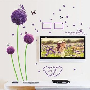 Wall Stickers Purple Dandelion Romance Decoration Wall Stickers Wall Decals Home Decor Wallpaper Poster