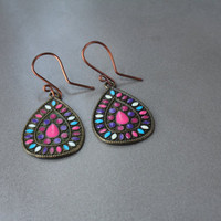 Multi color tribal earring, bohemian style