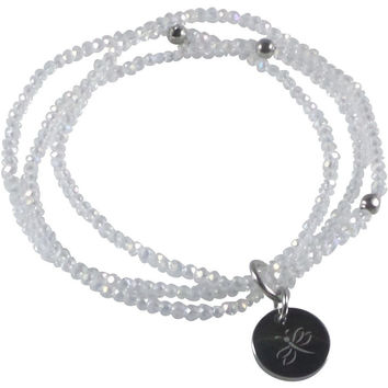 Stretch Bracelet Triple Handcrafted Glass Beads with Stainless Steel Dragonfly Tag (Clear White)