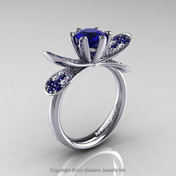 Design Organic 14K White Gold 1.0 Ct Blue Sapphire Diamond Nature Inspired Engagement Ring R671-14KWGBS