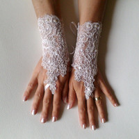 Ivory lace glove free ship bridal wedding fingerless  french lace gauntlets guantes floral beaded pearl rustic elegant