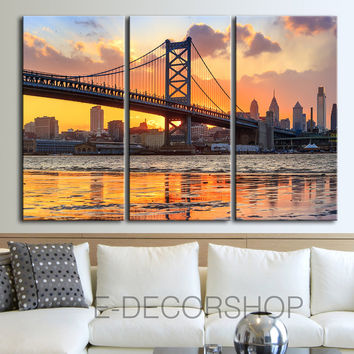 Large Wall Art Canvas Print Ben Franklin Bridge and Philadelphia Skyline by Night + Philadelphia Canvas Art Printing
