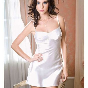 iCollection Lingerie Satin Top Stitch Cups Side Lace Chemise