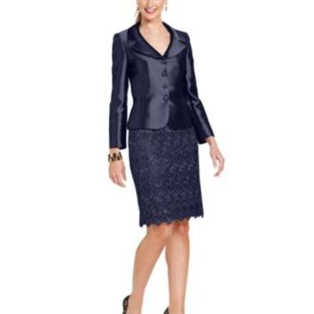 Tahari ASL Three-Button Metallic Lace Skirt Suit | macys.com