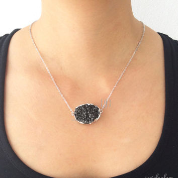Black Druzy Necklace Silver Onyx Black Geode Drusy Gemstone Layering Long Mineral Rustic Modern Statement Natural Quartz Crystal Stone C1