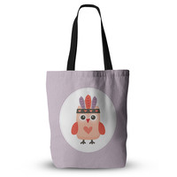 "Daisy Beatrice ""Hipster Owlet"" Purple Everything Tote Bag"