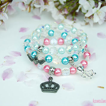 Kawaii Fairy Kei Pastel Goth Sweet Lolita Winged Heart, Octopus, or Crown Beaded Pearl Bracelet