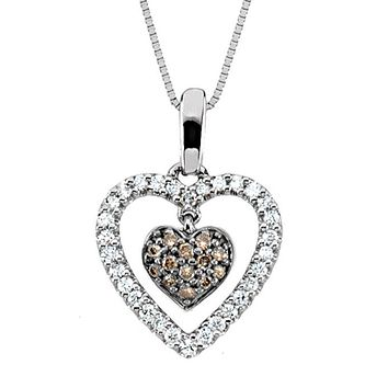 Two Tone Diamond Heart Necklace in 14k White Gold