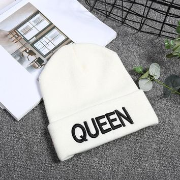 New Arrive Brand King Queen Snapback Cap Men Women BEANIE Sport Hip Hop Hat Couple Embroidery Hat Outdoors Knitting Hat