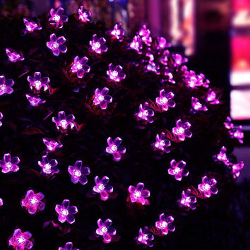 New Hot Solar Fairy String Lights 21ft 50 LED Purple Blossom Decorative Gardens, Lawn, Patio, Christmas Trees, Weddings, Parties