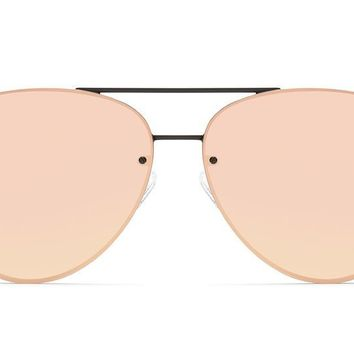 Quay - Cool Innit Black Sunglasses / Pink Mirror Lenses