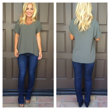 Caralynn Short Sleeve Blouse - OLIVE
