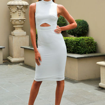 Ivory & Chain Australian Designer MIMI White Bodycon Midi Dress