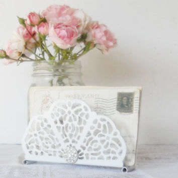 Cottage Style White Filigree Metal Napkin Holder, Mail Holder, French Farmhouse, Shabby Chic, Repurposed