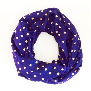 Navy and Gold Bindi Dot Infinity Scarf