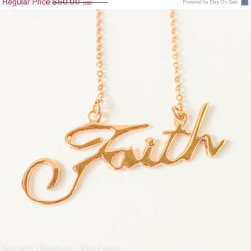 VALENTINES DAY SALE Faith handwriting 10k gold plated Christmas necklace
