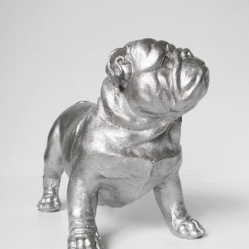 Bulldog, British Bulldog, Silver, Bulldog Ornament, English Bulldog, Silver Bulldog, Hodi Home Decor, Bulldog Figurine, Dog Figurine